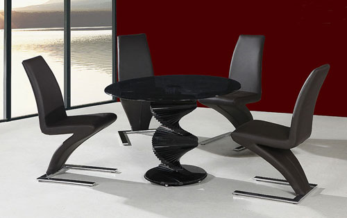 black glass table and 4 chairs 3