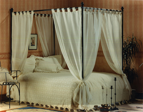 set of voile cotton four poster bed curtains