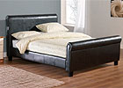 Tuscany Sleigh Double Faux Leather Bed