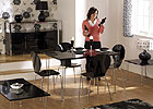 Roxanne Rectangular Dining Set with Black Chairs