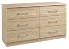 Andante Oak Finish Three Drawer Double Chest