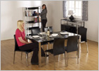 5 Foot Charisma Dining Set with Black Gloss Finish