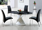 Dakota Black Glass Dining Table with Black G614 Chairs