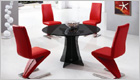 Astoria Round Dining Table with Smoked Black Glass and G632 Chairs
