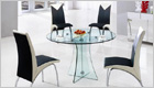Astoria Round Dining Table with Clear Glass and G614 Chairs