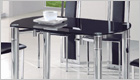 Java Round Extending Dining Set with Black Glass (Extended)
