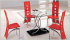 Naples Dining Set with Red Glass