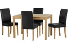 Oakmere Dining Set with Black Faux Leather Chairs