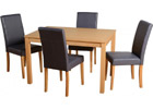 Oakmere Dining Set with Charcoal Faux Leather Chairs