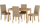 Oakmere Dining Set with Sand Colour Fabric Chairs