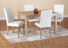 Oakmere Dining Set with Cream Faux Leather Chairs
