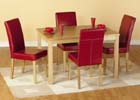 Oakmere Dining Set with Rustic Red Brown Faux Leather Chairs