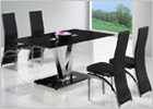 V Dining Table with Black Glass and G501 Dining Chairs