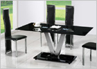V Dining Table with Black Glass and G650 Dining Chairs