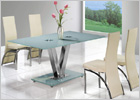 V Dining Table with White Glass and G501 Dining Chairs