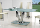 V Dining Table with White Glass and G601 Dining Chairs