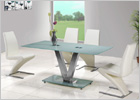 V Dining Table with White Glass and G632 Z Chairs