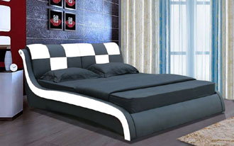 Double Faux Leather Beds