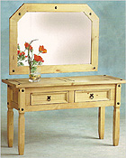 Corona Dressing Table with Two Drawers shown with Over Mantle Mirror