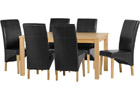Belgravia Dining Set with Black Faux Leather Chairs
