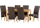 Belgravia Dining Set with Dark Brown Fabric Chairs