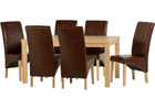 Belgravia Dining Set with Mid Brown Faux Leather Chairs