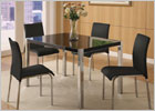 4 Foot Charisma Dining Set with Black Gloss Finish