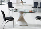 Dakota Clear Glass Dining Table with Black G612 Chairs