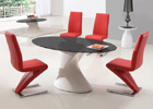 Dakota Black Glass Dining Table with Red G632 Chairs