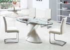 Dakota Beige and Clear Glass Dining Table with White G654 Chairs