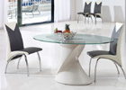Dakota Beige and Clear Glass Dining Table with Black and White G825 Chairs