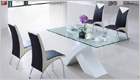 X Dining Table with White Base and G614 Chairs