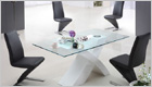 X Dining Table with White Base and G632 Chairs