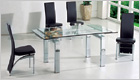 Gio York Extending Dining Table with Clear Glass and G501 Chairs