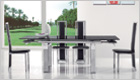 Gio York Extending Dining Table with Black Glass and G601 Chairs (Extended)
