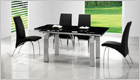 Gio York Extending Dining Table with Black Glass and G614 Chairs