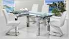 Gio York Extending Dining Table with Clear Glass and G632 Chairs