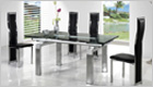 Gio York Extending Dining Table with Black Glass and G650 Chairs