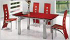 Gio York Extending Dining Table with Red Glass and G525 Chairs