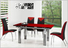 Gio York Extending Dining Table with Red Glass and G614 Chairs