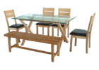 Cadiz Dining Table with Four Dining Chairs and Dining Bench