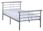 Gemini Single Bed with Silver Finish
