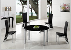 Maxi Round Extending Dining Table with Black Glass and G501 Chairs