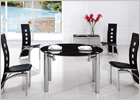Maxi Round Extending Dining Table with Black Glass and G525 Tall Back Cut Out Chairs