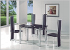 Maxi Round Extending Dining Table with Black Glass and G601 Chairs