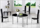 Maxi Round Extending Dining Table with Black Glass and G650 Chairs