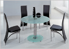 Mini Round Dining Set with Black Glass and G501 Chairs