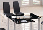 Rimini Small Dining Table with Black Glass