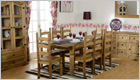 Corona Dining Set with Eight Wax Pine Chairs