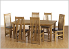 Tortilla 6 Foot Dining Set with Six Expresso Brown Chairs